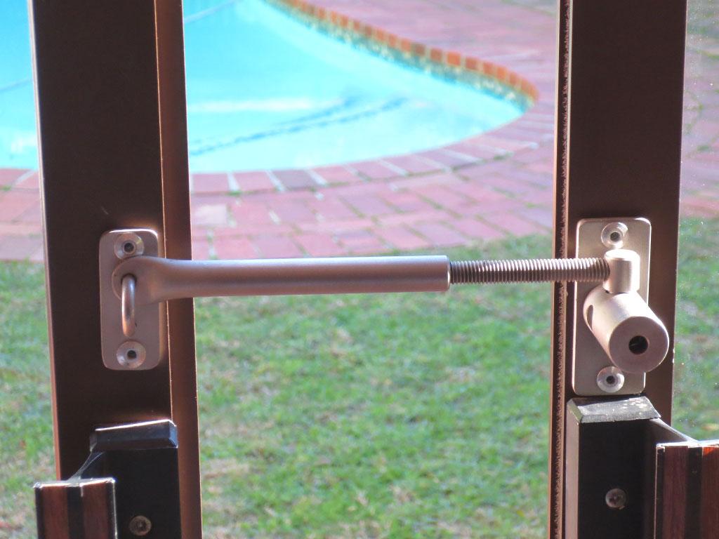Secure aluminium doors open